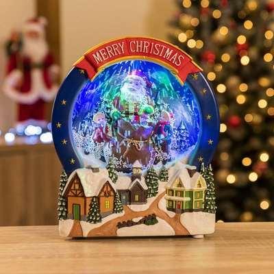 Christow Santa Scene Musical LED Christmas Snow Globe