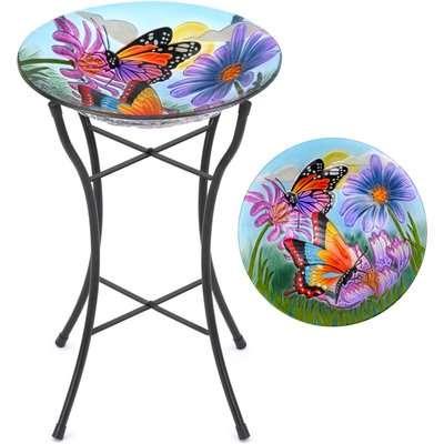 Glass Butterfly Bird Bath