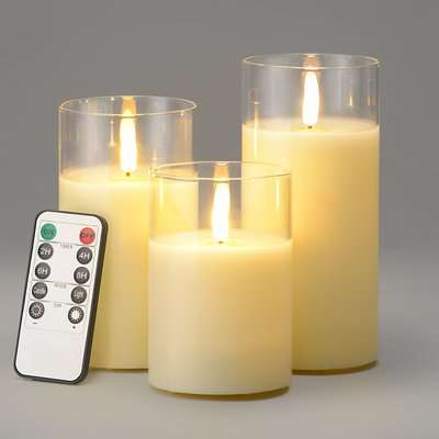 Glass Candles With Remote - Cream