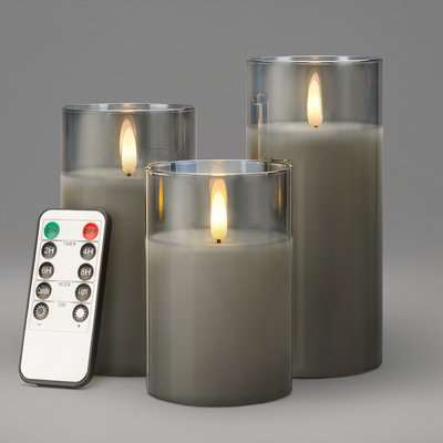 Glass Candles With Remote - Grey