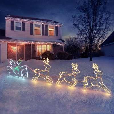 Santa Sleigh & Reindeer Rope Light