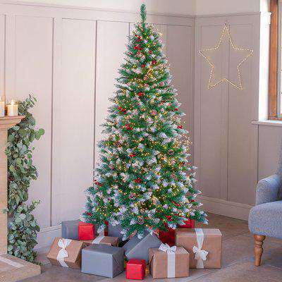 Snowy Artificial Christmas Tree 7ft