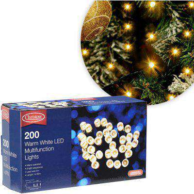 Warm White 200 LED Multi-Function Christmas Lights