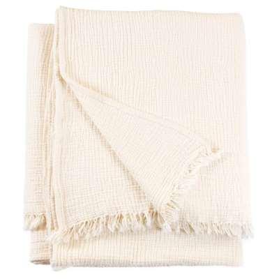 Chalk Crinkle Cotton Throw Blanket - Small / Cream / Cotton