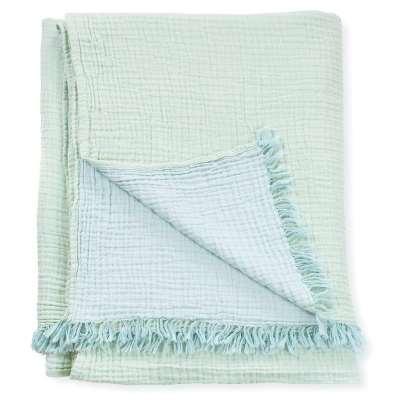 Lagoon Crinkle Cotton Throw Blanket - Large / Green / Cotton