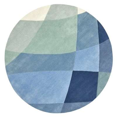 Rhythmic Tides Indigo Round Rug - 200 cm diameter / Blue / Wool