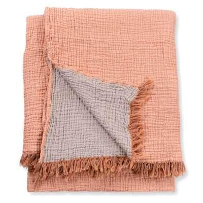 Terracotta Crinkle Cotton Throw Blanket - Large / Orange / Cotton
