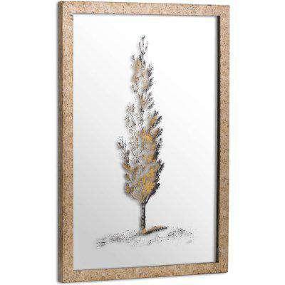 Antique Metallic Brass Mirrored Pine Wall Art