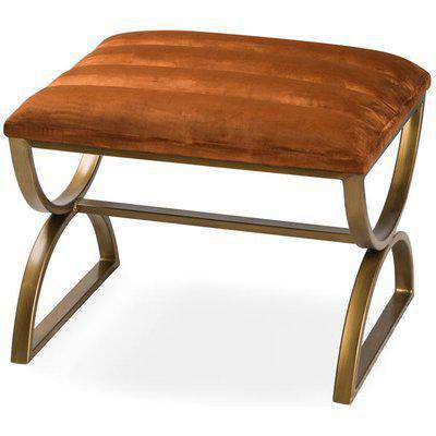 Burnt Orange And Brass Ribbed Footstool
