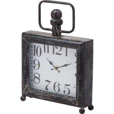 Dark Distressed Square Mantel Clock