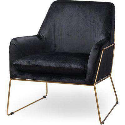Flynn Framed Black Velvet Club Chair