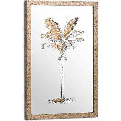 Metallic Mirrored Brass Palm Wall Art