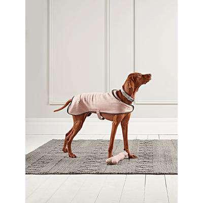 Blush Herringbone Wool Dog Coat - Medium