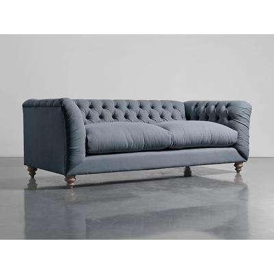 Dora Buttoned Four Seater Sofa - French Blue Linen Cotton Blend
