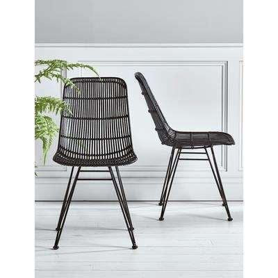 Flat Rattan Dining Chair - Black