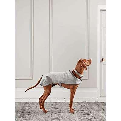 Grey Herringbone Wool Dog Coat - Small