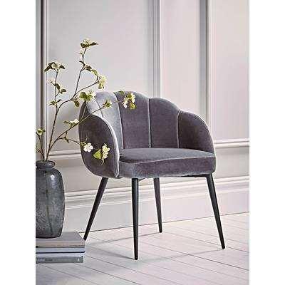 Grey Scalloped Velvet Chair
