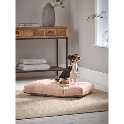 Herringbone Wool Dog Bed - Blush