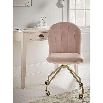 Fluted Office Chair - Blush Velvet