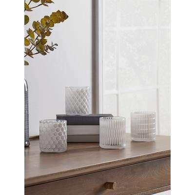 Four White Geometric Tea Light Holders