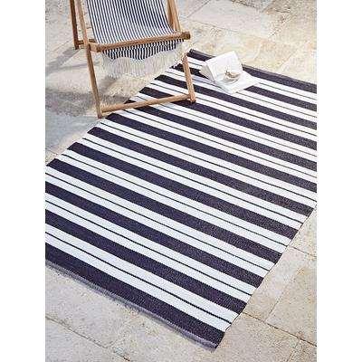 Indoor Outdoor Coast Rug - Alternating Blue Stripe