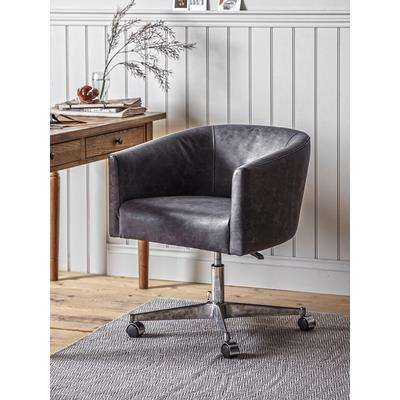 NEW Leather Wheeled Tub Chair - Vintage Black