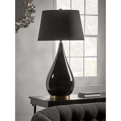 Oversized Black Glass Teardrop Table Lamp