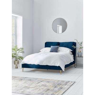 NEW Pillowy Velvet Super King Bed - Soft Grey