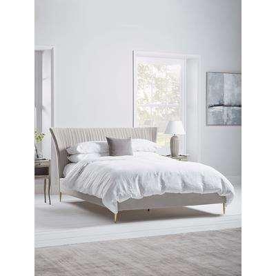 NEW Pleated Velvet Super King Bed - Soft Grey