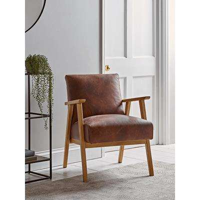 Relaxed Lounge Chair - Tan Leather