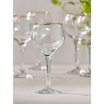 Six Gold Rim Wine Glasses