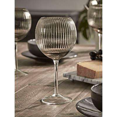 Six Smoked Fluted Wine Glasses