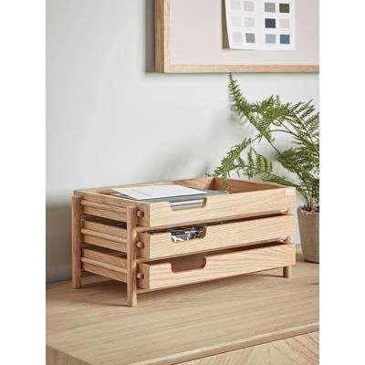 Tiered Oak Desk Tray