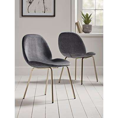 Two Vida Velvet Dining Chairs - Charcoal
