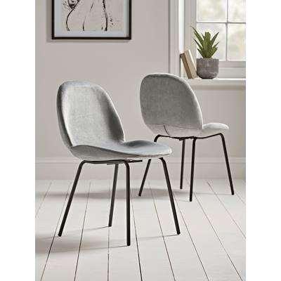 Two Vida Velvet Dining Chairs - Soft Grey