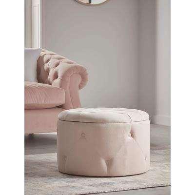 Velvet Storage Pouffe - Blush