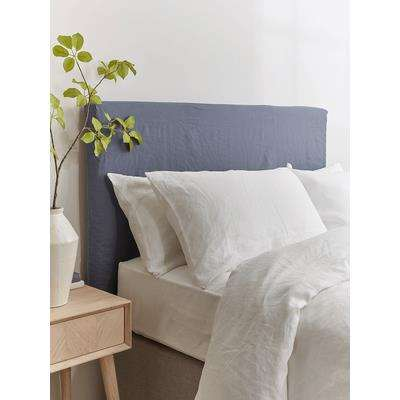Indigo Washed Linen Replacement Headboard Cover - Double