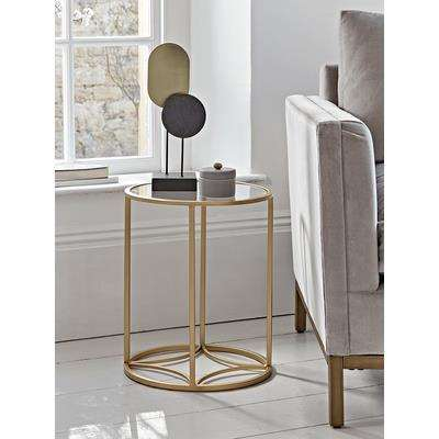 Round Gold & Glass Side Table