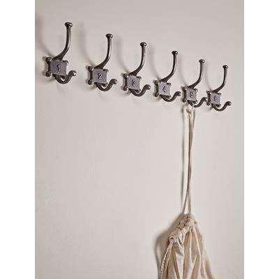 Six Numbered Coat Hooks - Antique Iron