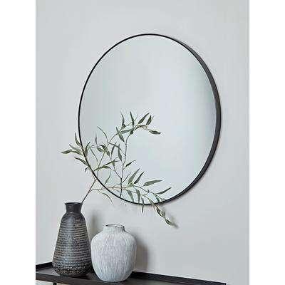 Slim Black Frame Round Mirror