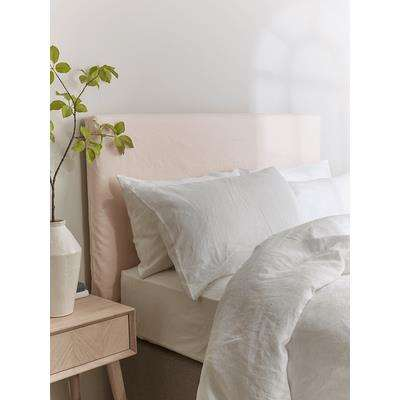 Soft Blush Washed Linen Replacement Headboard Cover - Double