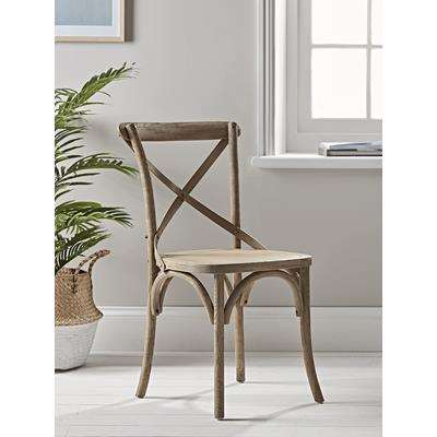 Two Weathered Oak Cross Back Dining Chairs