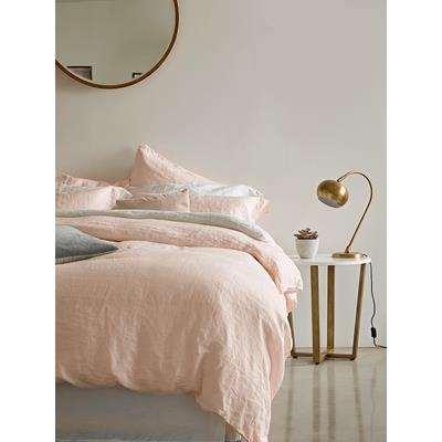 Washed Linen Duvet Cover Double - Soft Blush