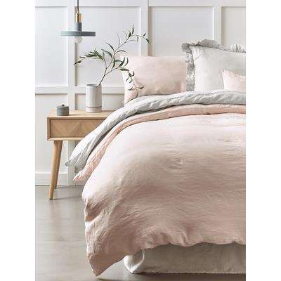 Washed Linen Kingsize Duvet Cover - Soft Blush