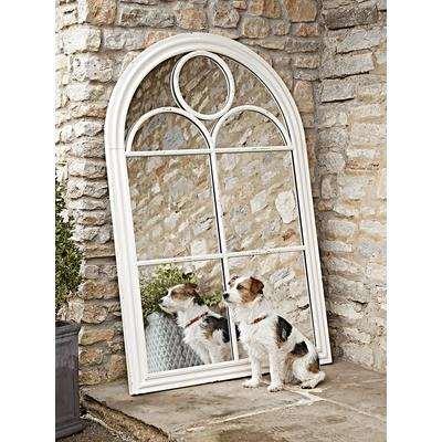 White Arch Outdoor Mirror