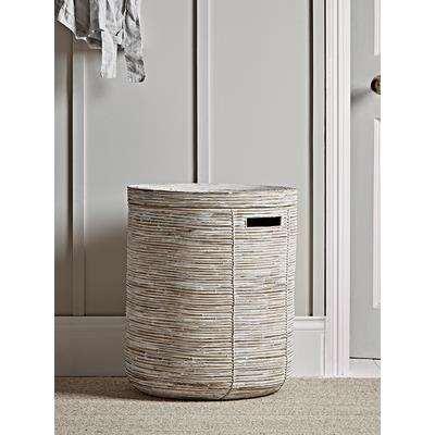 Whitewashed Round Rattan Laundry Basket