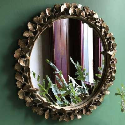 Gold Ginkgo Leaf Round Mirror