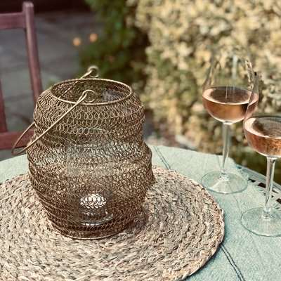 Gold Wire Knitted Outdoor Lantern