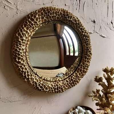 Golden Faux Coral Round Mirror