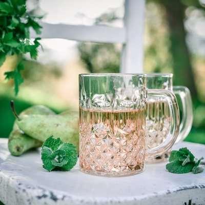 Rose Crystal-Cut Glass Mug